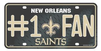 New Orleans Saints Car Tag - #1 Fan Primary Logo Metal