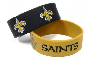 New Orleans Saints Wide Rubber Bracelets-2-Pack