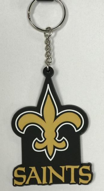 """New Orleans Saints Key Chain - 3"""" Rubber"""