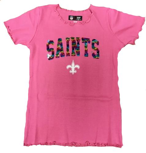 New Orleans Saints Sequin Color Shirt - Pink