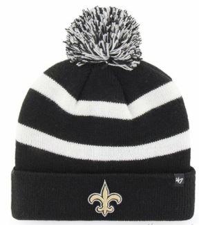New Orleans Saints Knit Hat - Stripe Black/White Pom