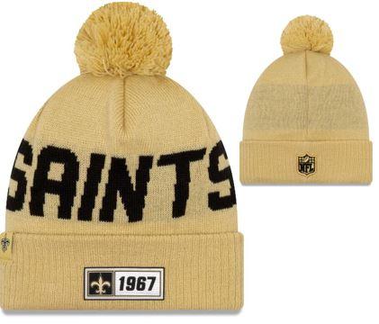 New Orleans Saints Knit Hat - Gold Sideline Road Sport