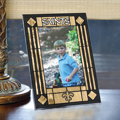 New Orleans Saints Vertical Art-Glass Frame