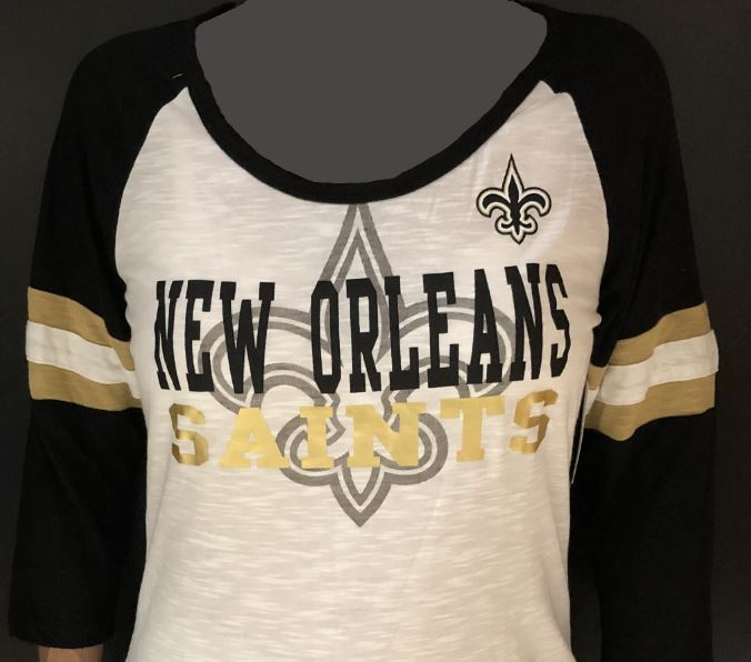 New Orleans Saints Shirt - Striped Sleeve
