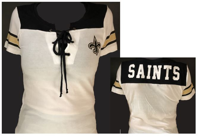 New Orleans Saints Shirt - White/Black Tie