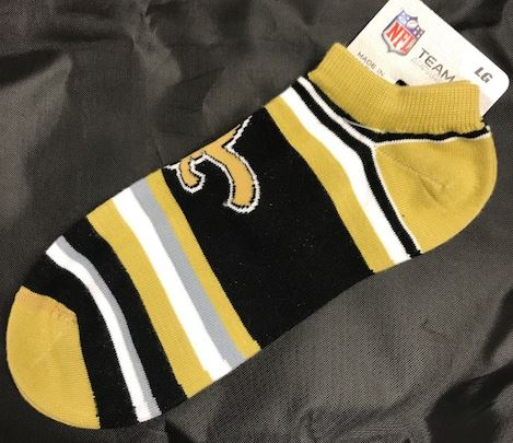 New Orleans Saints Socks - Lotta Stripe No Show