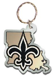 New Orleans Saints Key Chain Acrylic Laser Cut Mirror State Shape
