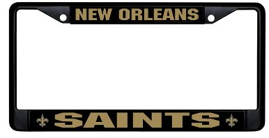 New Orleans Saints Auto Tag Frame - Black Matte