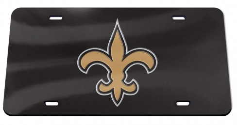 New Orleans Saints Auto Tag - Crystal Mirror Black