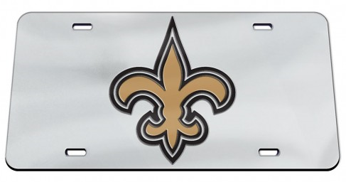 New Orleans Saints Auto Tag - Crystal Mirror Silver