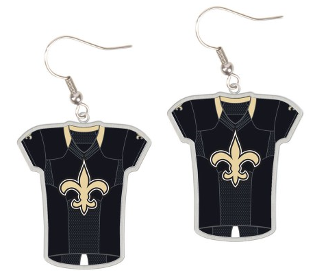 New Orleans Saints Black Jersey Fdl Earrings Carded