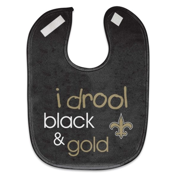 "New Orleans Saints Bib  ""i drool black & gold"" Baby Bib"