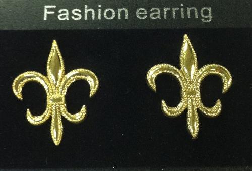 New Orleans Saints Gold Fleur De Lis Earrings-Large