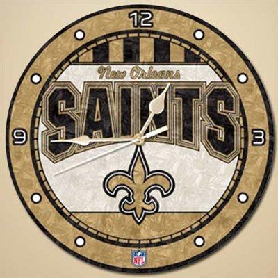New Orleans Saints Art Glass Clock